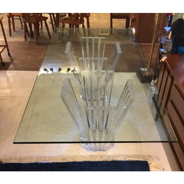 1980s Vintage Lucite Double Pedestal Glass Top Dining Table For Sale - Image 11 of 11