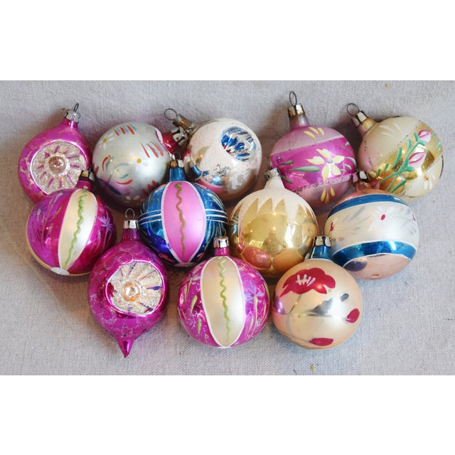 Midcentury Vintage Colorful Christmas Tree Ornaments W/Box - Set of 12 For Sale - Image 4 of 9
