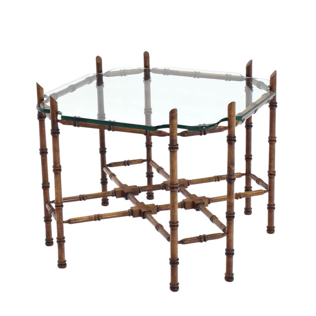 Faux Bamboo Glass Top Side Table For Sale