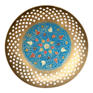 Pierced Blue Enameled Brass Dish For Sale