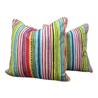 Contemporary Stripe Pillows With Yellow Piping - a Pair For Sale