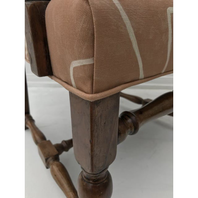 French Renaissance Revival Lounge Chair in Graffito Fabric For Sale - Image 11 of 12