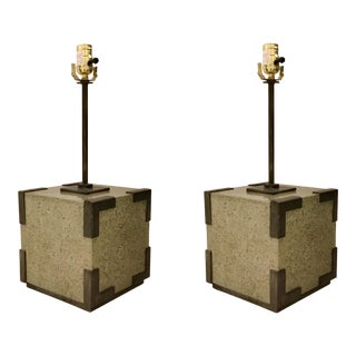 Currey & Co. Industrial Modern Polished Concrete and Iron Table Lamp Pair For Sale