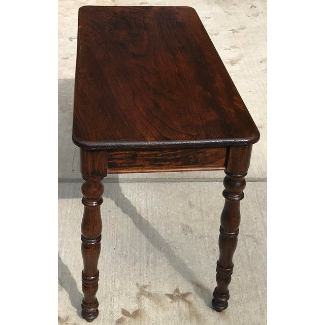 Traditional Antique Hand Hewn Rosewood Library Console Table For Sale - Image 3 of 9