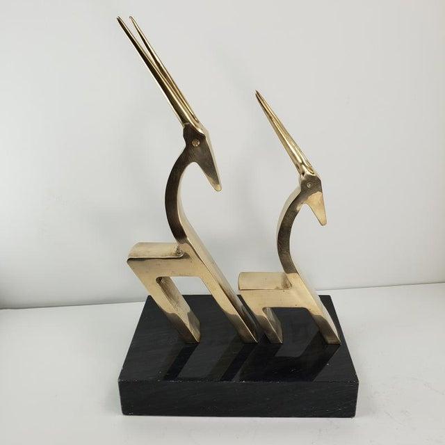 Vintage Brass 2 Gazelle Sculpture Mid Century Modern Table Art For Sale - Image 6 of 12