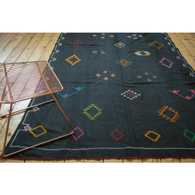 Black Moroccan Embroidered Kilim Carpet - 6' x 9' - Image 2 of 7