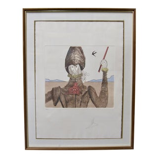 "Salvadore Dali Signed Original Etching Aquatint Soldier ""The Dreamer"" Don Quixote Collection For Sale"