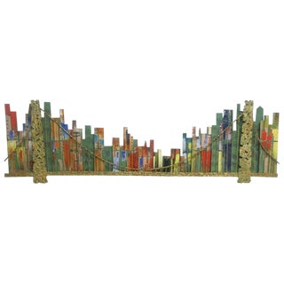 1967 Vintage Curtis Jere Cityscape Brooklyn Bridge Wall Sculpture For Sale