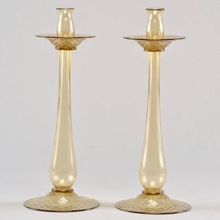 Barovier and Toso Amber Murano Glass Candlesticks - Pair Preview