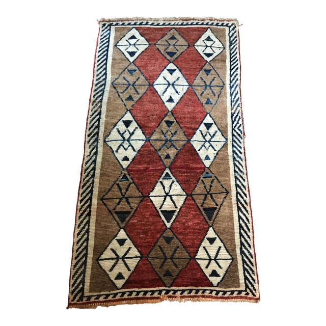 Hand Knotted Geometric Navy, Ivory, Copper and Rust Rug For Sale