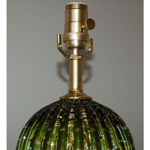 Gold Vintage Murano Glass Stacked Ball Murano Lamps Green Gold For Sale - Image 8 of 10