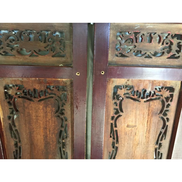 Carved Antique Asian Screen Room Divider For Sale - Image 9 of 11