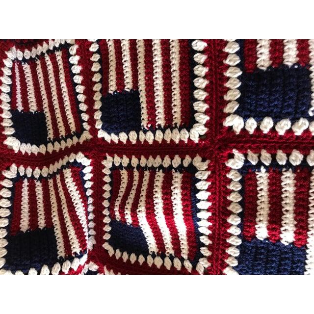 "American Flag Handmade Throw Blanket - 48"" x 64"" For Sale - Image 4 of 7"