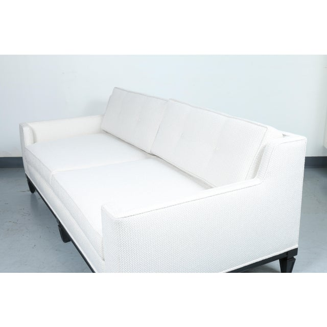 Black Oriental Style Mid Cemtury Love Seat Sofa For Sale - Image 8 of 11