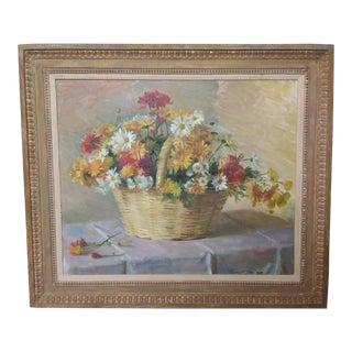 1970s Vintage Robert Joy Large Floral Basket Still Life Painting For Sale