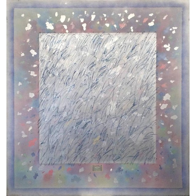 A playful large abstract painting 5.5'W x 6'H. Painting is made with acrylic, spray paint and one collage element, a...