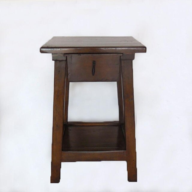 Pair of Custom Walnut Side Tables or Nightstands with Drawer and Shelf - Image 3 of 5
