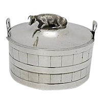 English Silver-Plate Butter Tub W/Cow