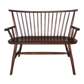 Late 20th Century Vintage Hunt Country Furniture Oak Bench For Sale