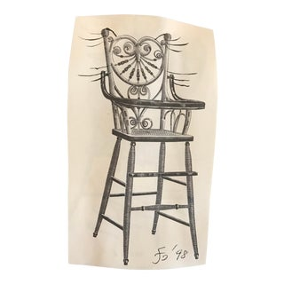 High Chair Meow Collage and Drawing by James Bone For Sale