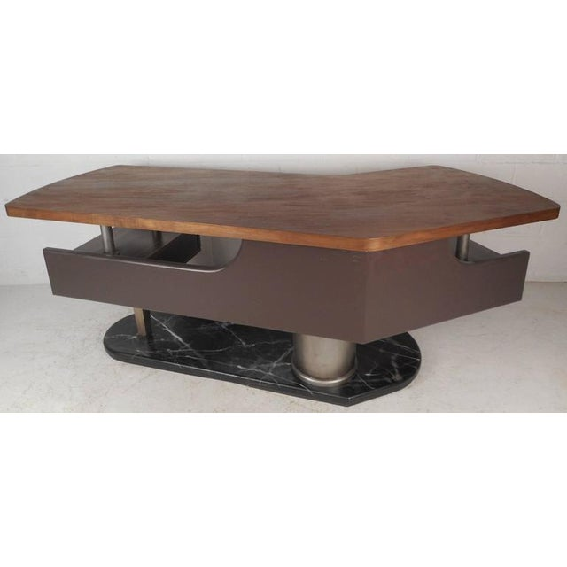 Walnut Mid-Century Modern Boomerang Desk For Sale - Image 7 of 11
