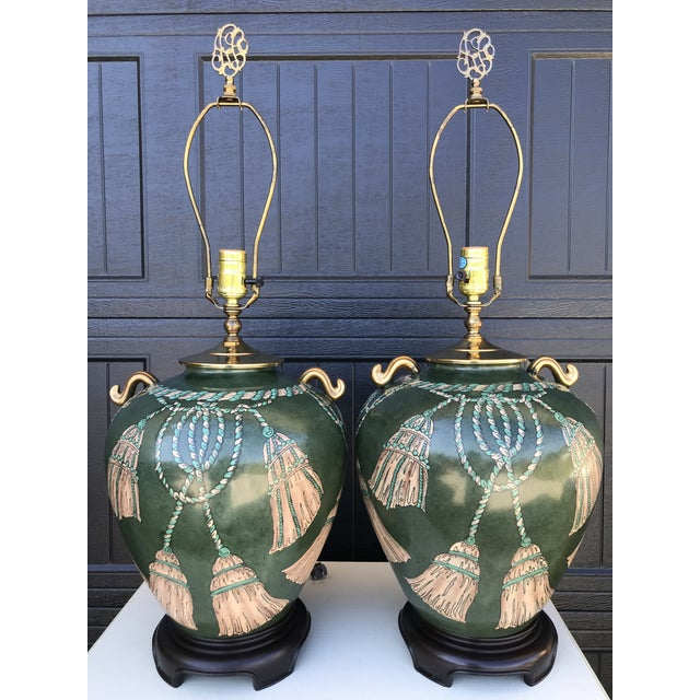 Vintage Hand Painted Tassel and Rope Lamps-A Pair For Sale - Image 12 of 13