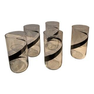 1980s Black & White Barware - Set of 4 For Sale