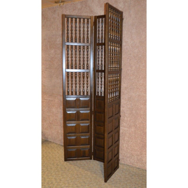 Vintage Jacobean Style Wood Room Divider For Sale - Image 10 of 13