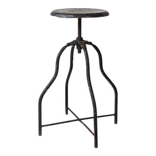 Vintage Adjustable Industrial Stool For Sale