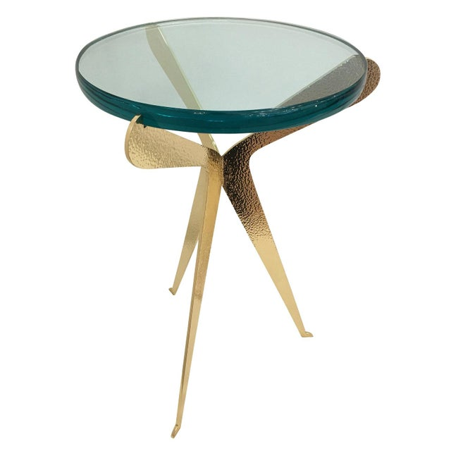 "Gaspare Asaro 'Fiore"" Side Table-Hammered Brass Version For Sale - Image 4 of 6"