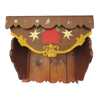Vintage Tyrolean Shelf Console Hand-Painted & Carved Wood For Sale