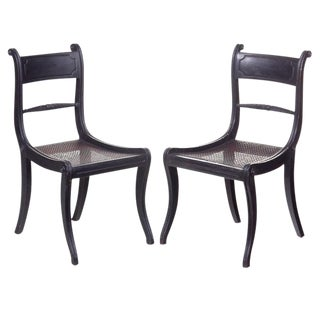 19th Century Ebonized Regency Chairs - a Pair For Sale
