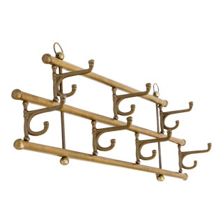 Vintage Brass Swivel Hook Coat Rack For Sale