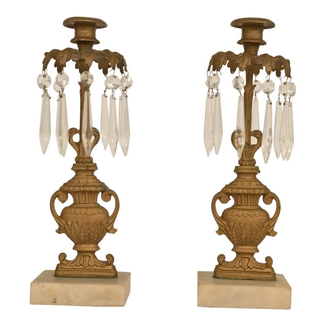 Mid 19th Century Gilded Bronze Garniture Candlesticks - a Pair For Sale