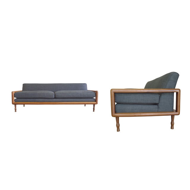 In the Style of T.H. Robsjohn-Gibbings Mid-Century Sofa & Armchair Set - Image 3 of 9