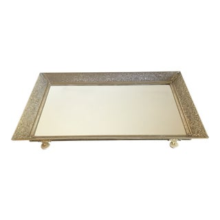 Floral Brass and Mirrored Table Top Tray For Sale