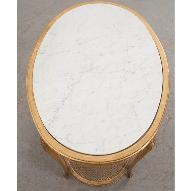 French 19th Louis XVI Style Oval Giltwood Occasional Table For Sale In Baton Rouge - Image 6 of 13