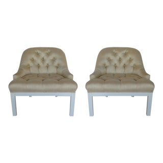 1950s Asian Modern Cream Upholstered Mahogany Slipper Chairs - a Pair