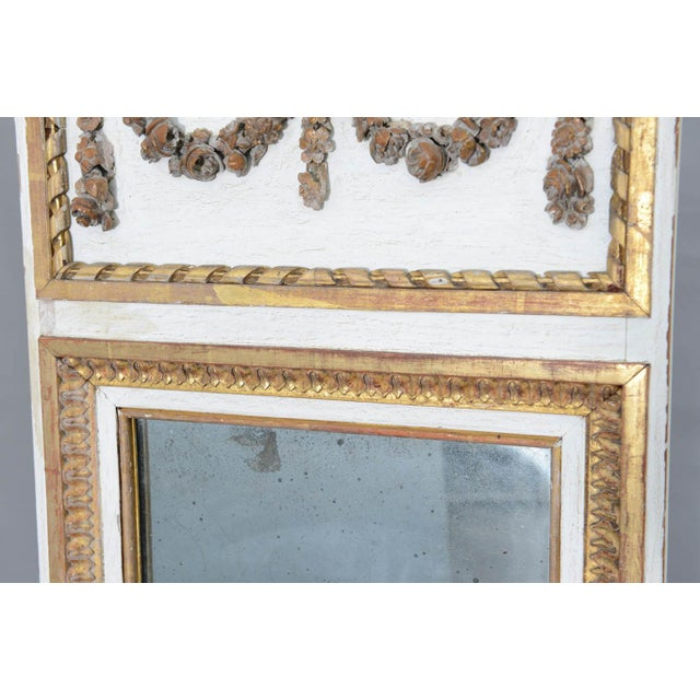 Giltwood Narrow 19c. Painted and Parcel Gilt French Trumeau Mirror For Sale - Image 7 of 11