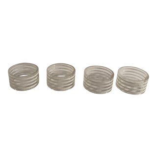 Acrylic Clear & White Stripe Napkin Rings - Set of 4