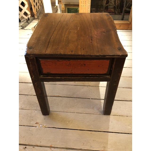 Antique Chinese Rustic Wood End Table With Single Drawer For Sale - Image 4 of 12