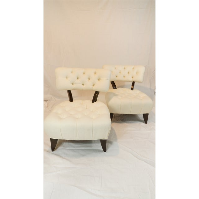 Billy Haines Style Tufted Lounge Chairs - A Pair - Image 3 of 7