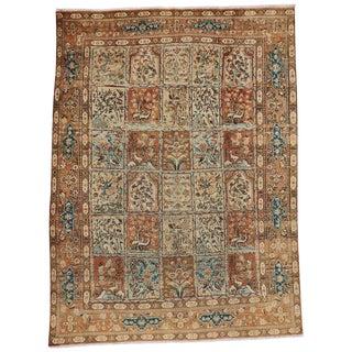 Vintage Persian Tabriz Garden Design Wool Rug - 7′9″ × 10′5″ For Sale