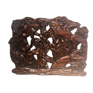 Fish Themed Wood Carved Art Deco Sculpture For Sale