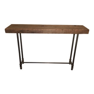 1920's Redwood & Pipe Legs Console Table