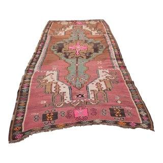 Vintage Room Size Turkish Floor Kilim Rug For Sale