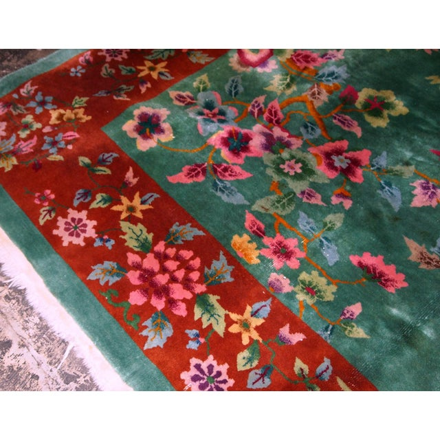 Textile 1920s, Handmade Antique Art Deco Chinese Rug 8.10' X 11.6' For Sale - Image 7 of 11