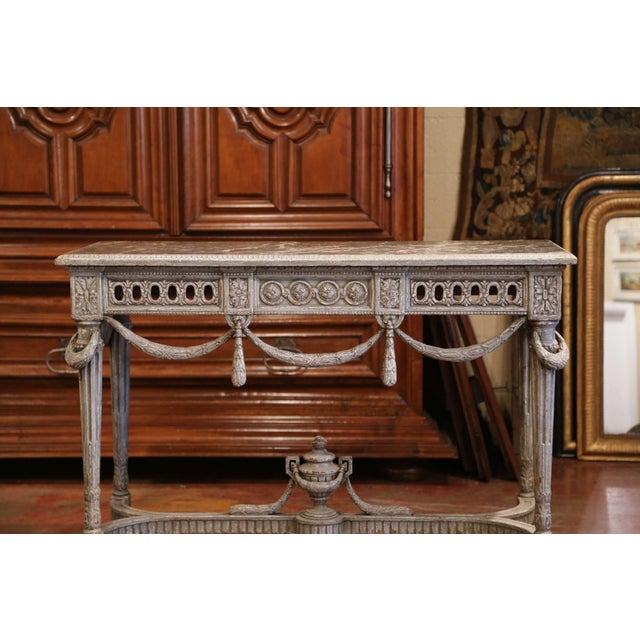 Pair of 19th Century French Carved Painted Consoles Tables With Faux Marble Top For Sale - Image 4 of 12