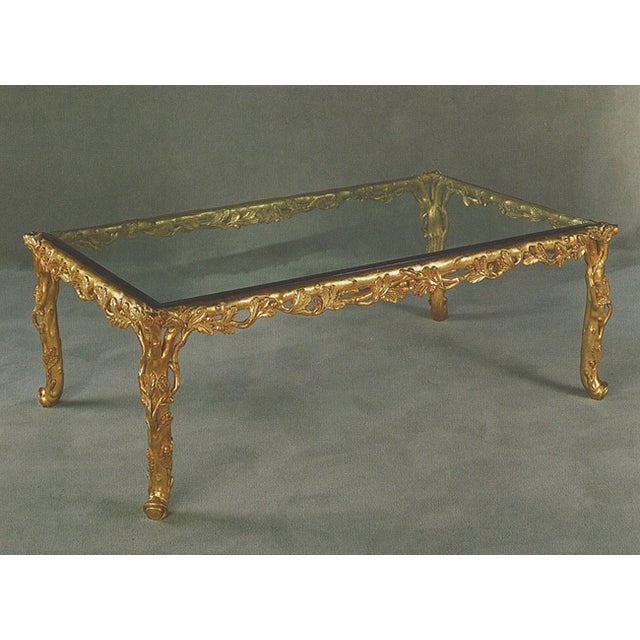 Italian Hand Carved Wood Gold Leaf Coffee Table - Image 2 of 3