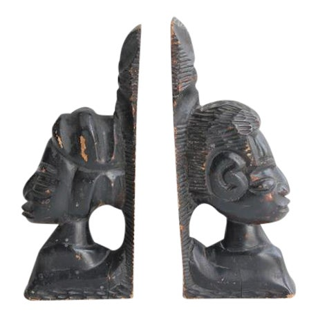1930's Antique Hand Carved Wooden Bookends- A Pair For Sale